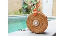 sling bags circle rattan with sea shells accessories