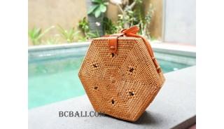 Shape rattan ata sling bags natural handmade