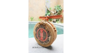 women circle sling bags rattan wooden hand painted