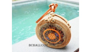 natural rattan sling bag circle with wood hand painted