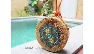 handmade circle sling bags rattan with wood painting