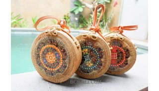 ethnic wooden with rattan circle sling bags handmade