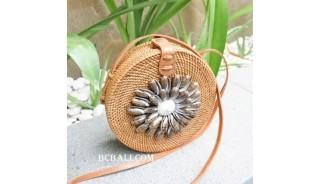 bali handmade rattan sling bags circle with seashells