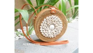 cowrie shells circle sling bags rattan handmade bali