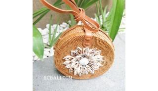 natural circle bags rattan with seashells full handmade