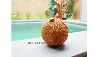 balls coins bags rattan leather handle long