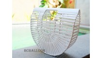 bali bamboo handbags white color handmade