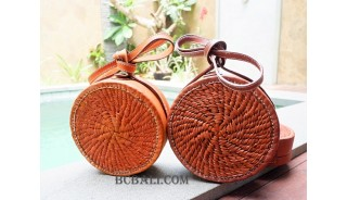 full leather circle sling bags medium size