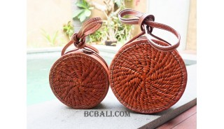 large small circle full leather sling bags sets