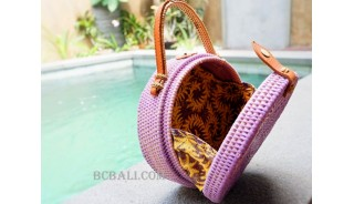 unique circle handbag rattan syntethic purple