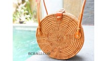 Circle Handbags Ata Rattan Leather Handle Star