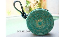 circle rattan bags long handle leather turquoise
