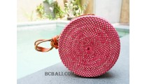 circle sling leather bag rattan fashion maroon
