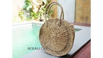 handmade circle straw handbag natural short handle