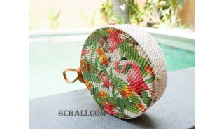 fashion circle sling handbag floral decorative