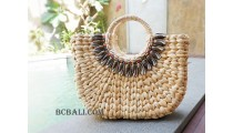 handbags sea grass natural with beads medium