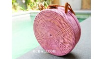 sling bags circle rattan synthetic pink color