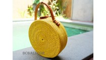 straw raffia rattan handbag circle yellow color