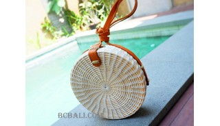 rattan sling bags circle design leather long handle