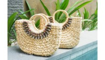 shopping bags seagrass natural bead set 2