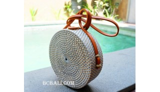 sling leather bags circle bali rattan grey color