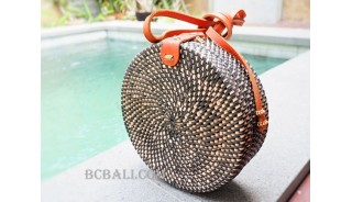 sling bags circle rattan synthetic black color