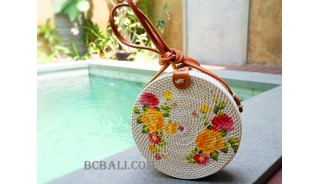 sling bags rattan with flower decoration