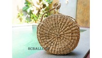Straw Bags Circle Long Handle Natural Handmade
