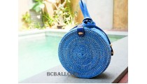 straw synthetic rattan circle bag blue color