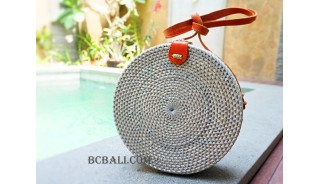 straw synthetic rattan circle bag color grey