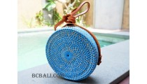 straw synthetic rattan circle bag color blue dongker