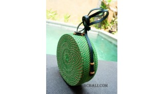 straw synthetic rattan circle bags green color