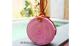 straw synthetic rattan circle bag color pink
