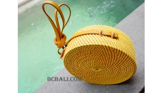 straw synthetic rattan circle bag yellow