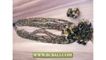Bali Multi Strand Beads Necklaces Pendant Stone