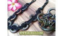 Bali Wooden Necklace Bead Wrap Sets Matching