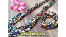 Color Mix Beads Multi Strand Long Set Stretch