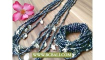 Long Strand Beads Charm Necklace Bracelets Set