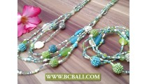 Multi Strand Beads Necklace with Bracelets Sets