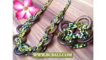 Organic Wooden Necklace with Beads Set Bracelet