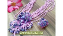 Purple Beauty Necklaces Pendant Stone Sets
