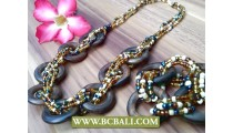 Wooden Wrapted Beads Circle Necklace sets