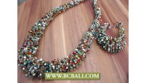 Wrapted Beads Necklace Bracelets Sets