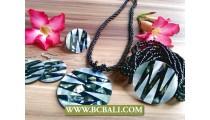 Abalone White Shells Pendant Bead Sets