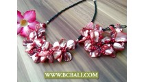 Color Nuged Shells Flowers Necklace Sets
