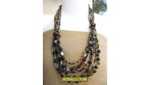 designs necklaces bead shell multi strand long