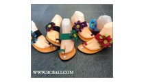 Bali Leather Two Covering Flower Wedges