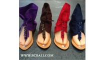 Bali Wedges Bat Style Sandals Slippers Leather