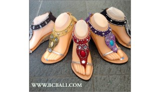 Boheiman Wedges Leather Sandals Beaded