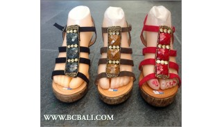 Fashion Shoes Leather Sandals Beaded High Heels